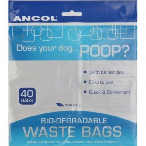Ancol Dog Puppy Biodegradable Tie Handle Poop Scoop Poo Waste Bags 40 200 400
